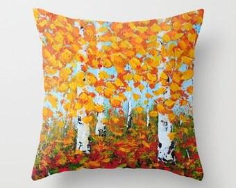 Birch Tree Pillow, Decorative Pillow Covers, Throw Pillows, Orange Yellow Blue Cushions, Sofa Pillows, Accent Pillow, Home Decor
