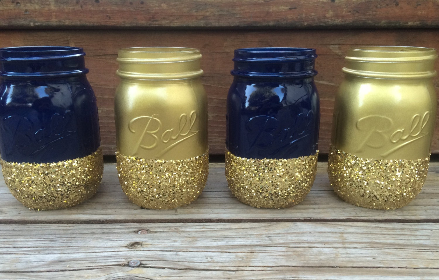 Blue And Gold Baby Shower Decorations Set Of 4 Glitter Mason Jars Use For Makeup Brushes Pens