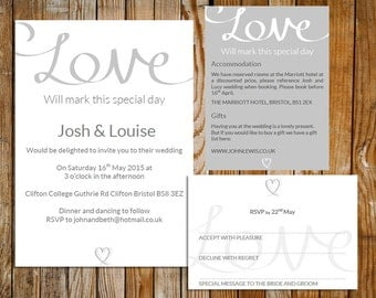 Wedding invite set - Love  invitation (Silver) – DOWNLOAD Printable Microsoft word or PDF, RSVP, info card, wedding template, silver invite