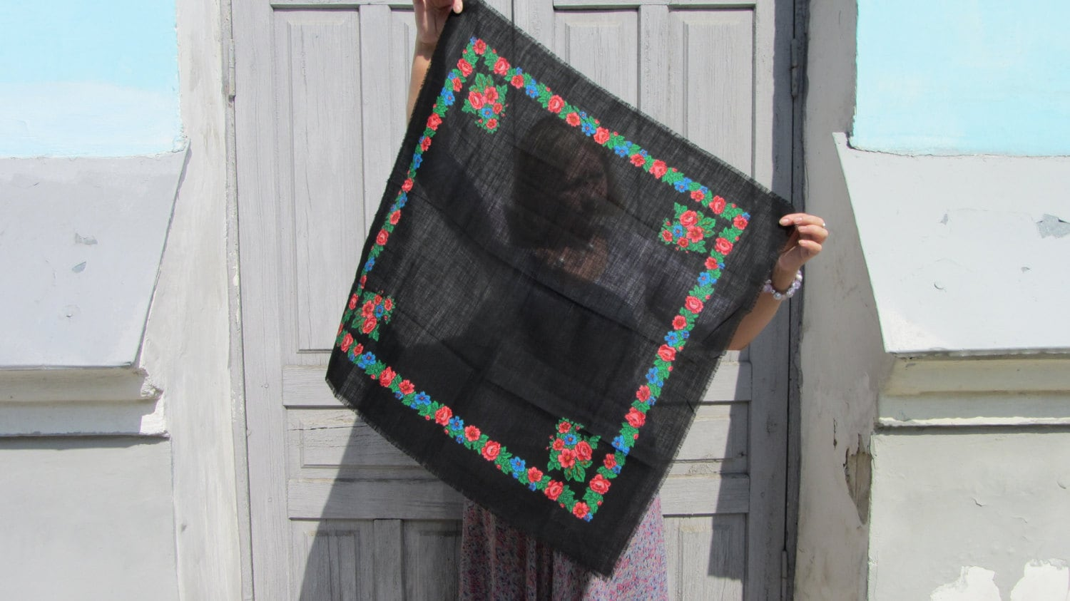 Black Vintage Wool Floral Lovely Scarf, Black Ukrainian Shawl, Russian Floral Sc