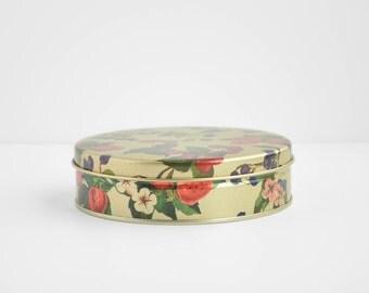 Vintage Round Fruit Tin - Floral - Berry Design