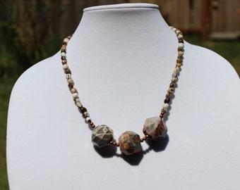 Ocean Jasper Necklace, Statement Necklace, Beaded Necklace, Gemstone Necklace, Copper