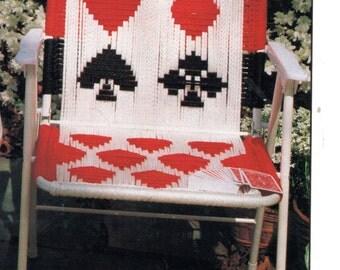 Vintage Macrame Cording Lawn Chair Folding Chair Pattern 1970s Playing Cards Heart Spade Club Diamond Motif PDF Instant Download