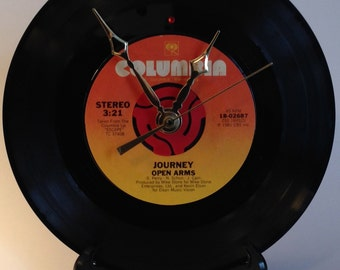 "Recycled JOURNEY 7"" Record • Open Arms • Record Clock"