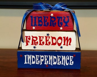 Red White and Blue Patriotic Wood Block Stacker Set