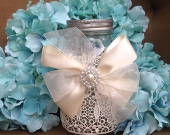 decorated white mason jar