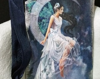 Fairy Gift Tag Enchanted Silver Moon  (Blank)/Gift Tag/Greeting Tag/Scrapbooking Tag/Anniversary Tag/Party Tag/Birthday Gift Tags