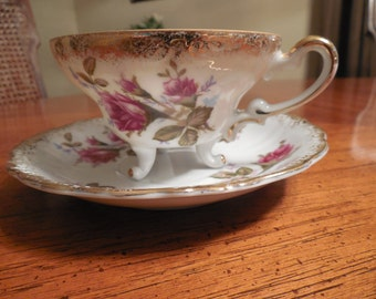 English Crown China  Teacup and Saucer Roses