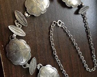 Vintage silver tone rustic 22 in shield necklace!!!