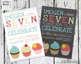 Cute Cupcake Themed Birthday Invitation | White or Vintage Chalkboard Background | Personalised Digital File