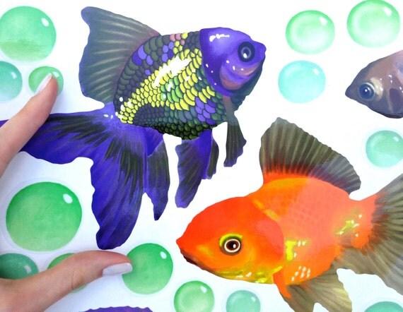 Fliesenaufkleber fische schleierschwanz blasen badezimmer kacheldekor 33 tlg xl ebay - Fliesenaufkleber fische ...