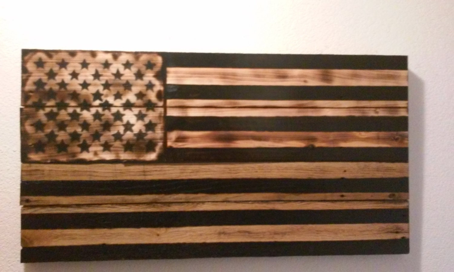 Wood Burned Rustic American Flag By Woodworksbywes On Etsy