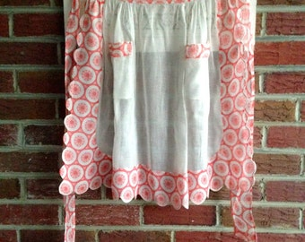 Vintage 1950's Sheer White and Red Organza Half Apron with Scalloped Edges and Two Pockets Super Sweet and Flirty, Spring, Easter