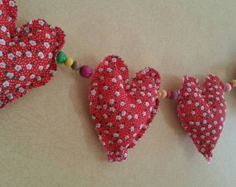 Shabby chic heart bunting with beads
