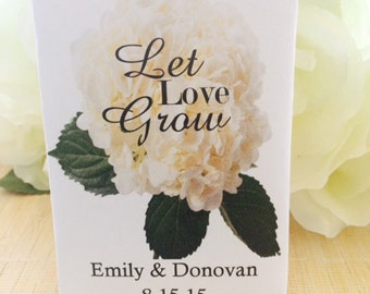 50 White Hydrangea Wedding Seed Packets Favors, Hydrangea wedding favors, Hydrangea favors, white wedding flowers