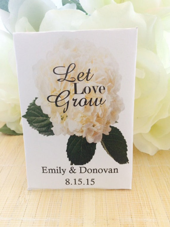 50 White Hydrangea Wedding Seed Packets Favors Hydrangea