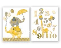 Neutral nursery wall decor elephant poster nursery giraffe baby room numbers decoration playroom wall art baby boy room artwork yellow grey