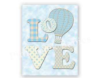 Nursery love quote inspirational print baby boy room decor hot air balloon artwork kids room wall art playroom decoration baby shower gift