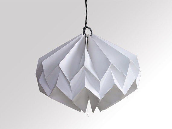 Items similar to origami paper lamp lampshade zigzag for Paper star lamp