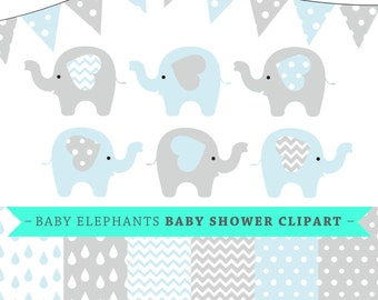 Premium baby shower vector clipart - Baby elephants - blue and grey baby shower - clip art and digital paper set - baby elephant clipart
