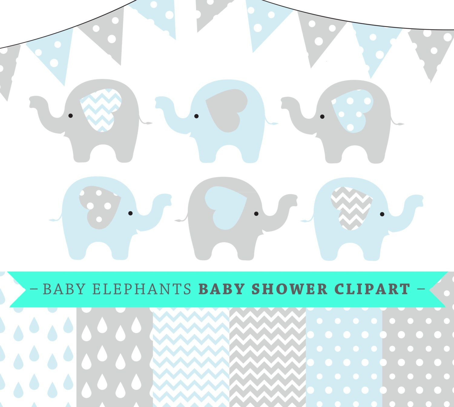 Premium baby shower vector clipart - Baby elephants - blue ...
