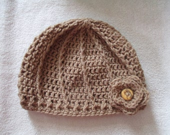 Crocheted Swirl Hat-Brown-Beanie-Adult Women's