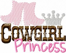 Cowgirl PrincessMachine Applique Embroidery Design, Cowboy Boots Applique, Cowgirl Boots Applique, 4x4, Country Girl Embroidery Design