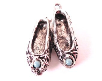 Vintage Silver Slipper Shoes Bracelet Charm