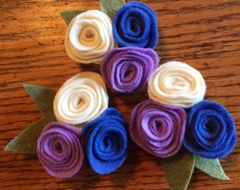 Felt flower magnets, flower magnets, purple and white flower magnet,  rose magnets, felt rose magnets