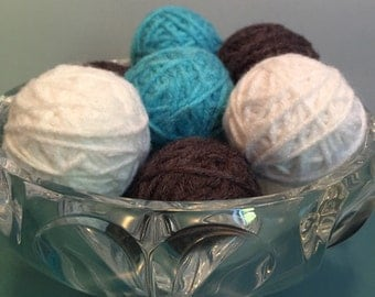 Decorative yarn balls, vase filler, bowl filler, deco balls, white teal and gray yarn balls