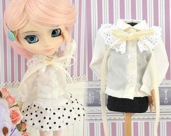 Blythe Pullip 2-Piece Set Blouse/Shirt+Movable Collar/Button Up