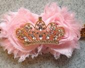 Pink and gold princess headband, pink and gold first birthday headband, pink birthday headband, gold first birthday headband