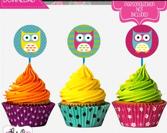 INSTANT DOWNLOAD: Neon Owl Themed Cupcake Toppers, Party Favor Stickers