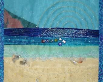 HANALEI BAY, KAUAI Quilted Wall Hanging
