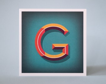 Letter G Illustrated Card – 3 dimensional letter – Alphabet Initial Card – Beveled lettering – Quality Printed Birthday or Greeting Card