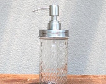 Ball Mason Jar with Stainless Steel Soap Dispenser Pump. Hand soap or lotion pump dispenser. Quilted Jar.  Glass jar.