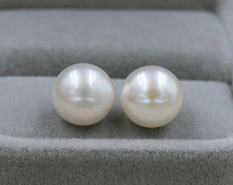 10-10.5mm Genuine AAA Wedding Pearl Earrings, 925 Sterling Silver Post, Bridesmaids, White Or Ivory, Packaged With High Quality Gift Box