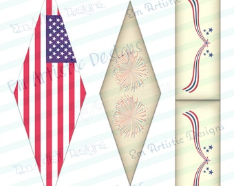 99 CENT SALE Print at home easy DIY straw flags} vintage July 4th decorations} vintage theme matched to invitations}party celebration