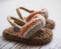 Lahaina Flip-Flops, Crochet Baby Booties, Baby Girl, Sweet Summertime, Wahine Surf, Pastel Blue, Coral, Cream, Unique Made to Order