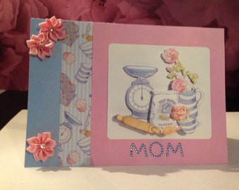 3d decoupage card for the baker, cake, cupcake loving Mom.Thank you, sorry, birthday, get well soon