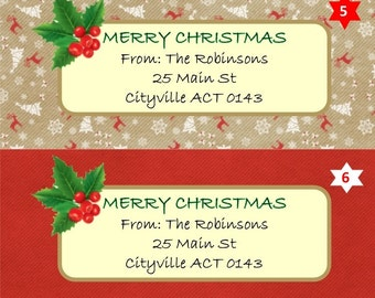Christmas return address labels rustic xmas series 2 six designs matte or gloss finish personalised xmas card labels envelope seals