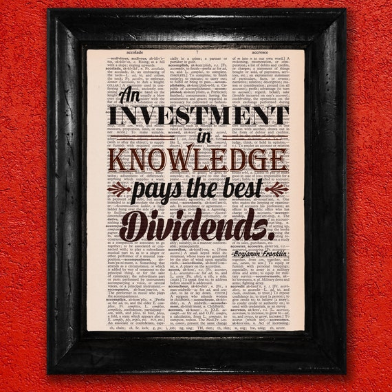 The Office Ben Franklin Quotes: Dictionary Print: Benjamin Franklin Quote Investing In