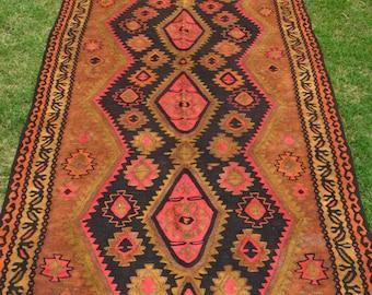 Vintage Tribal Caucasian Pattern Flat Woven Rug