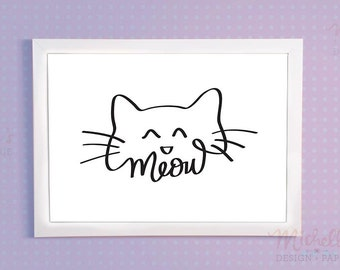 Cat's Meow PRINTABLE 8x10 black and white, Hand-Lettering, Typography, Nursery Wall Decor, Kids