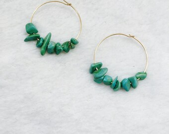 Earrings gold plated hoop earrings and turquoise stones