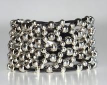 women leather bracelet,original design, Zamak beads bracelet,  uno de 50 style,hand made bracelet