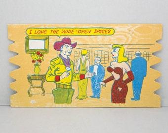 Vintage 1950s Comic Card. Komic Kard. Postcard. Humor. Cartoon. Woman. Cowboy.