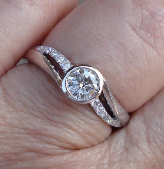 12 Carat Bezel Set Diamond Engagement Ring 14K White Gold Low