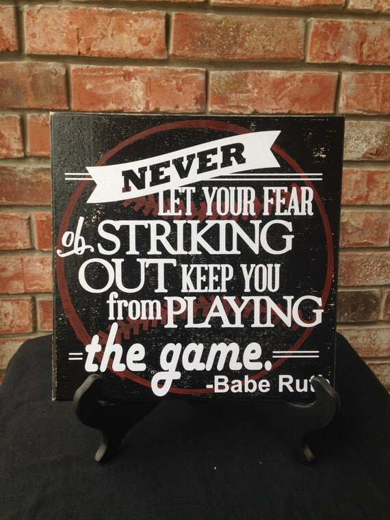 Babe ruth hand painted vinyl wall sign baseball bathroom for A bathroom i can play baseball in