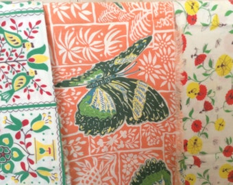 Sale!Vintage Fabric Crafters Lot of Material Butterfly Pennsylvania Dutch Pretty Floral Fabric Table cloth